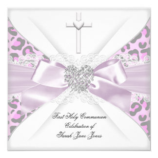Girl First Holy Communion Pink White Grey Leopard Card