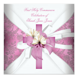 Girl First Holy Communion White Pink 13 Cm X 13 Cm Square Invitation Card