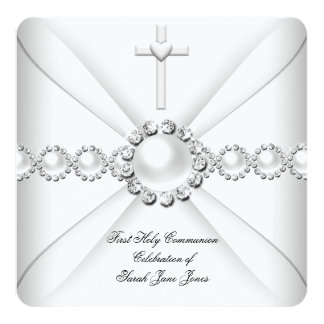 Girl First Holy Communion White Silver 2 Card