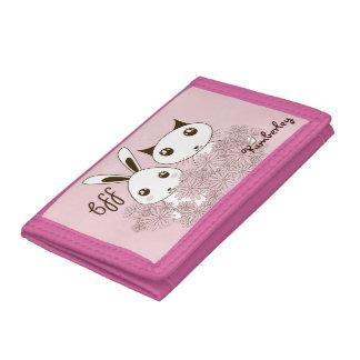 Girl Friendship Cute Animal Kids Name Pink Tri-fold Wallet