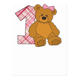 Girl Happy 1st Birthday Bear with 1 and Pink Bow Postcard