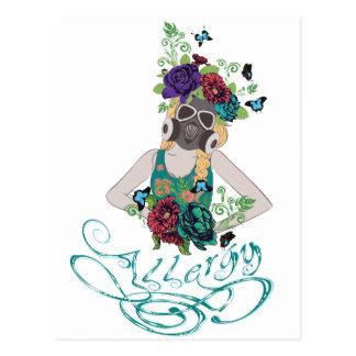 Girl in Gasmask Allergy 2 Postcard