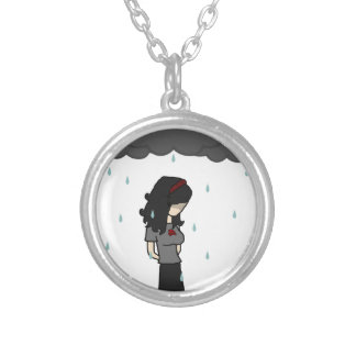 Girl in the rain 1 round pendant necklace