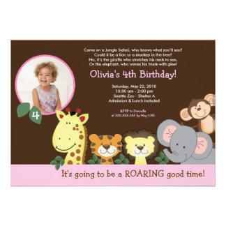Girl Jungle Zoo Party Animal Photo Birthday Invite