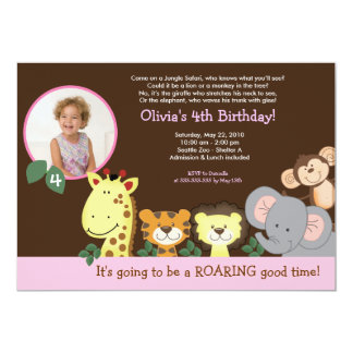 Girl Jungle Zoo Party Animal Photo Birthday 5x7 Paper Invitation Card