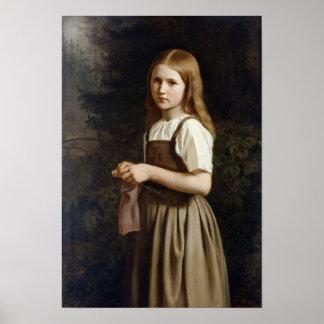Girl Knitting, 1854 Poster