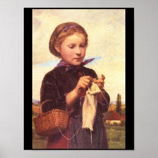 Girl Knitting', Albert_Portraits Poster