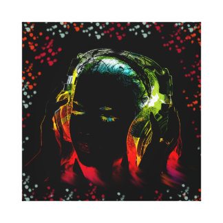 Girl Listening Music Headphones Neon Colors Gifts Canvas Print