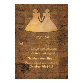 Girl Meets Girl Love Story Lesbian Wedding RSVP Card