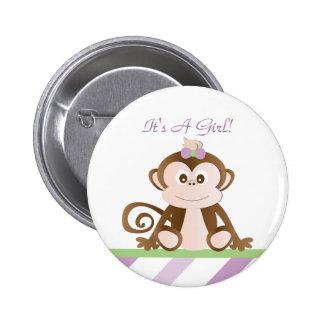 Girl Monkey Botton Pin