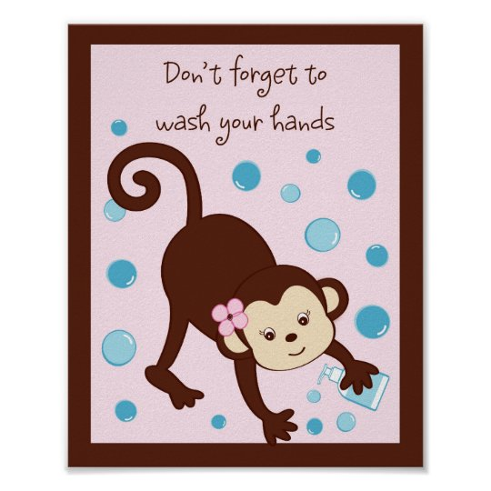 Girl Monkey Bubbles Kids Bathroom Art Print 8X10