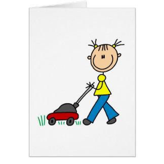 Girl Mowing Grass Card