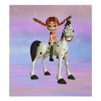 Girl on Pony Magical Fantasy Poster