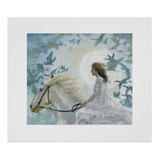girl on white horse poster