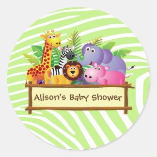 Girl or boy unisex Baby shower jungle safari favor Round Sticker