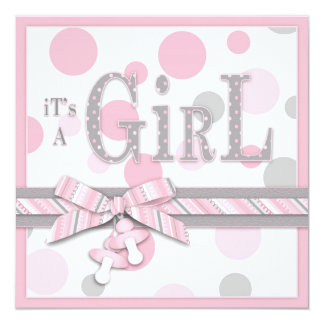 GIRL Pink Grey Dots Baby Shower Card