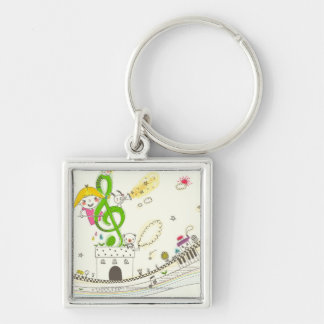 Girl playing with musical notes on house Silver-Colored square key ring