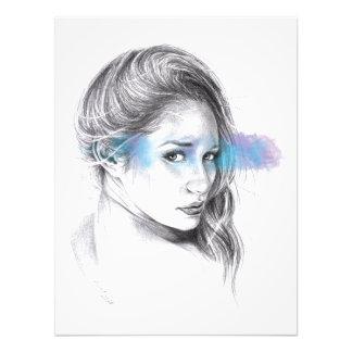 Girl portrait pencil art Photo print