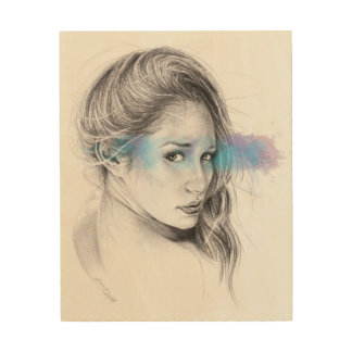 Girl portrait pencil art Wood canvas