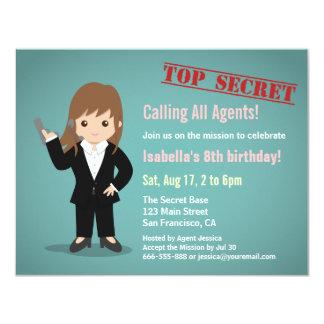 Girl Secret Agent Birthday Party 11 Cm X 14 Cm Invitation Card