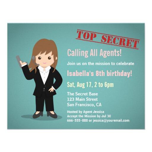 Girl Secret Agent Birthday Party Custom Invitations