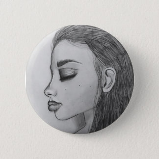 Girl Side Profile Button