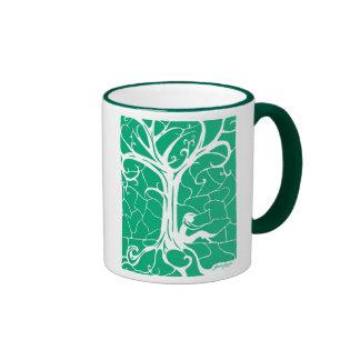 Girl Sitting by Swirling Tree (sea green) Ringer Mug