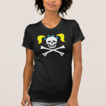 Girl Skull & Crossbones With Pigtails Ladies Shirts