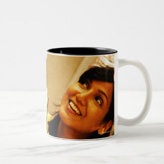 Girl smiling at teacher in chemistry lab Two-Tone coffee mug