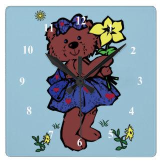 Girl Teddy Bear Holding Flower Wallclocks