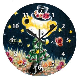 Girl Teddy Bear In A Top Hat Wall Clock