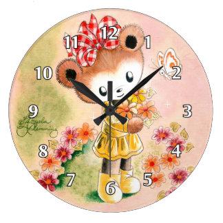Girl Teddy Bear With Bouquet Clock