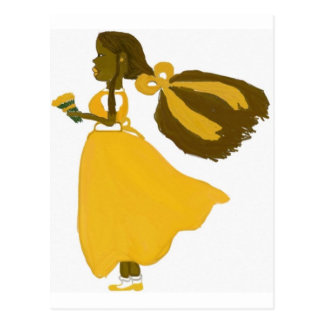 Girl wind postcard