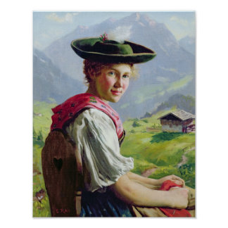 Girl with a Hat in Mountain Landscape Poster
