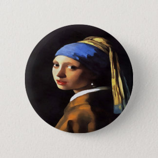 Girl with a Pearl Earring After Johannes Vermeer 6 Cm Round Badge