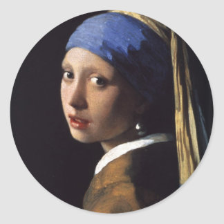 Girl with a Pearl Earring Classic Round Sticker