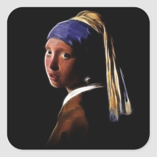 Girl with a Pearl Earring Digital Painting Vermeer Square Sticker