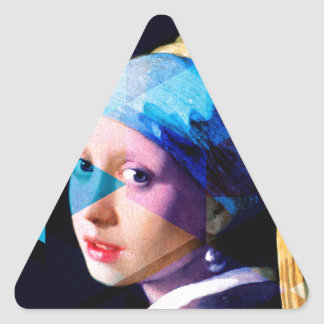 Girl with a pearl earring REMIXED Triangle Sticker