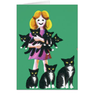 Girl with Cats Greeting Card