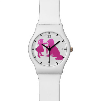 Girl with Dog Silhouette Gradient Pink Art Watch
