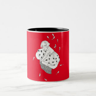 girl with fish Two-Tone coffee mug