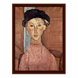 Girl With Hat By Modigliani Amedeo Postcards