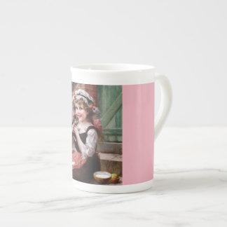 Girl With Kitten Bone China Mug
