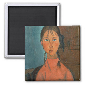 Girl with Pigtails, c.1918 (oil on canvas) Magnet