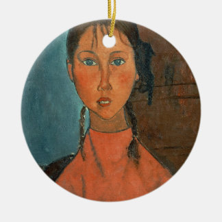 Girl with Pigtails, c.1918 (oil on canvas) Round Ceramic Decoration