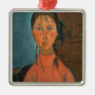 Girl with Pigtails, c.1918 (oil on canvas) Silver-Colored Square Decoration