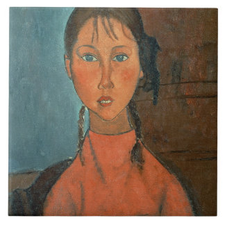 Girl with Pigtails, c.1918 (oil on canvas) Tile