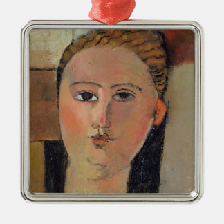 Girl with red hair, 1915 Silver-Colored square decoration