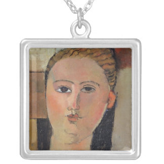 Girl with red hair, 1915 silver plated necklace