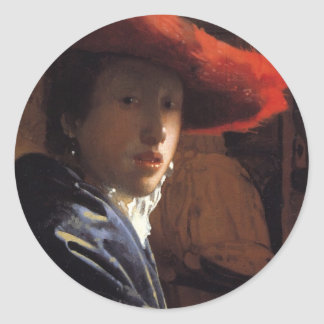 Girl with the Red Hat Classic Round Sticker